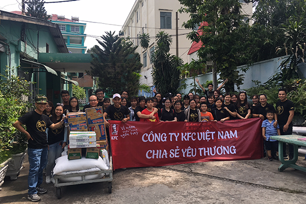 Sharing love with KFC at Tam Binh Charity Center!