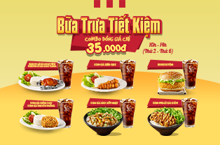 What to eat on lunch? Value lunch combo only from 35,000 VND/pc